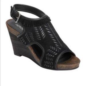 Aerosoles Waterfront Black Suede Wedge Sandals